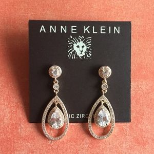 Anne Klein Rose Gold-tone Orbital Pave Earrings